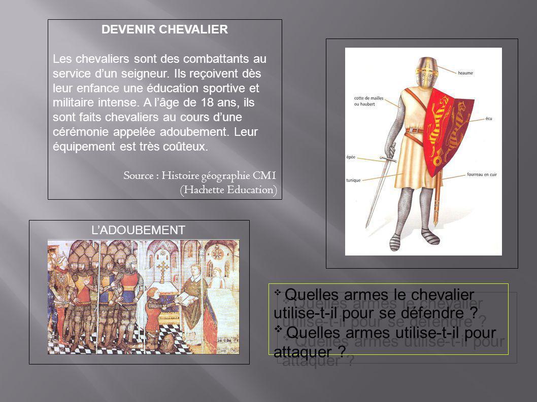 DEVENIR CHEVALIER Les chevaliers sont des combattants au service d'un seigneur. Ils reçoivent dès leur enfance une éducation sportive et militaire int