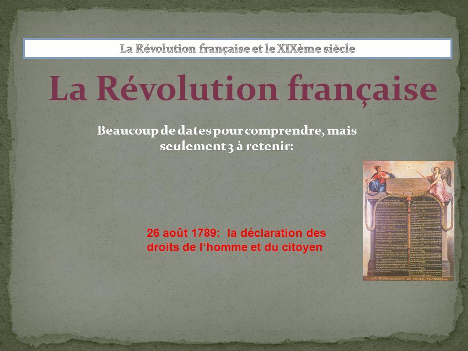 La Révolution française Beaucoup de dates pour comprendre, mais seulement 3 à retenir: 26 août 1789: la déclaration des droits de l'homme et du citoyen