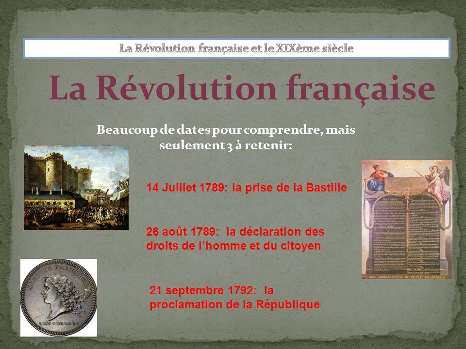 La Révolution française Beaucoup de dates pour comprendre, mais seulement 3 à retenir: 14 Juillet 1789: la prise de la Bastille 26 août 1789: la déclaration des droits de l'homme et du citoyen 21 septembre 1792: la proclamation de la République