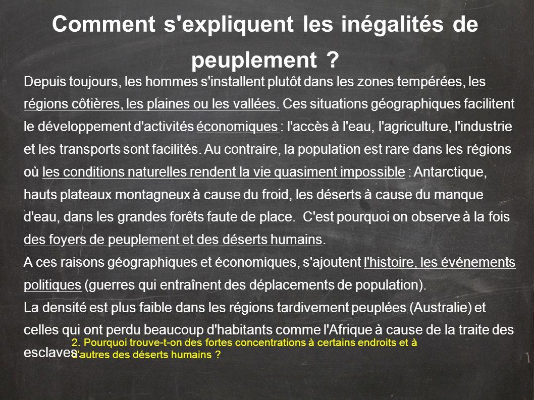 Comment s'expliquent les inégalités de peuplement ? 2. Pourquoi trouve-t-on des fortes concentrations à certains endroits et à d'autres des déserts hu