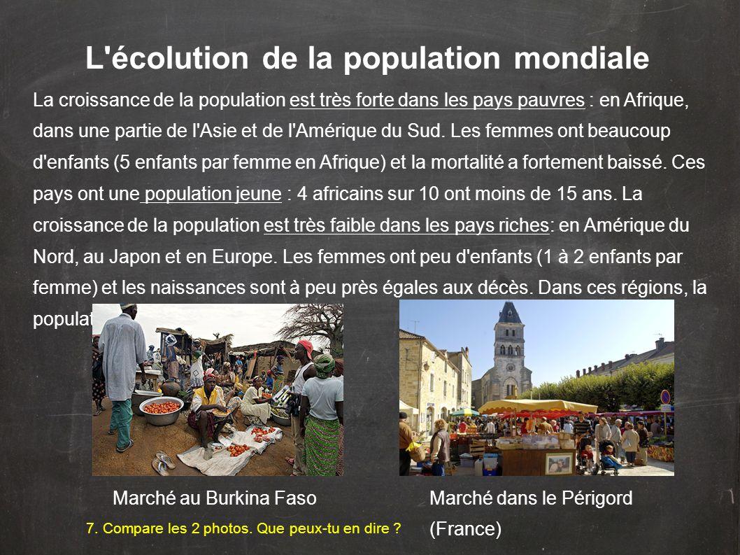 L'écolution de la population mondiale La croissance de la population est très forte dans les pays pauvres : en Afrique, dans une partie de l'Asie et d