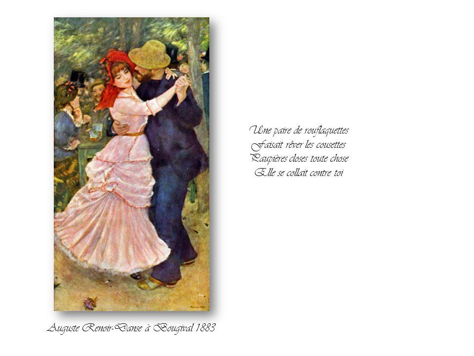 Elle tournait dans les petits bals Et sentait bon le blanc, la sueur et le Caporal Une pirouette et la gisquette Devenait sentimentale C'était la fête