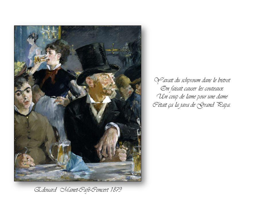 Quand sous la boule de cristal Se pointait une beauté fatale Lèvres ardentes jupe collante Du standing jusqu'aux nougats Edouard Manet-Bar aux Folies