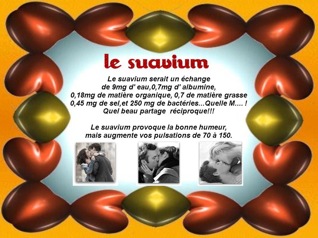 Le suavium serait un échange de 9mg d eau,0,7mg d albumine, 0,18mg de matière organique, 0,7 de matière grasse 0,45 mg de sel,et 250 mg de bactéries...Quelle M....