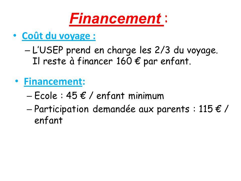 Financement : Coût du voyage : – L'USEP prend en charge les 2/3 du voyage.
