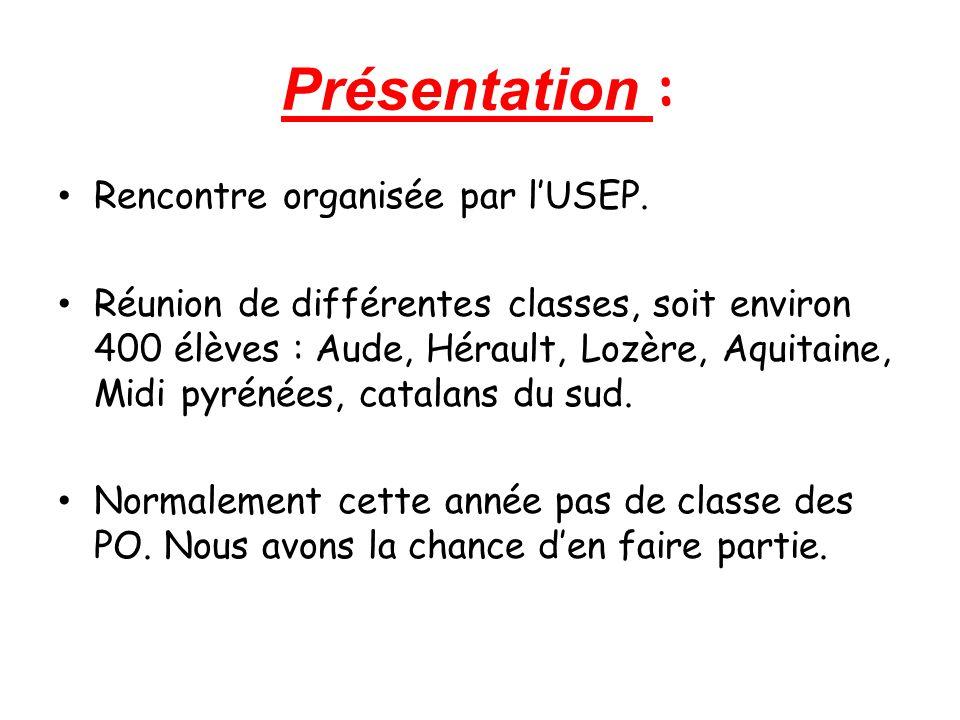 Présentation : Rencontre organisée par l'USEP.