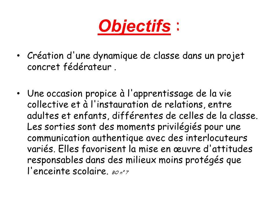 Objectifs : Création d une dynamique de classe dans un projet concret fédérateur.