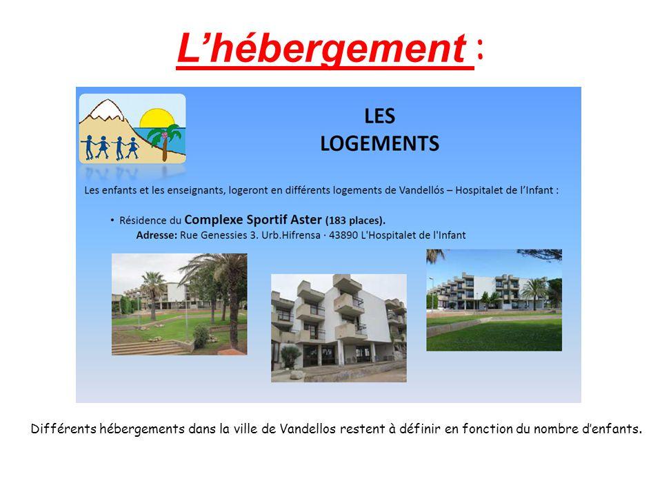 L'hébergement : Différents hébergements dans la ville de Vandellos restent à définir en fonction du nombre d'enfants.