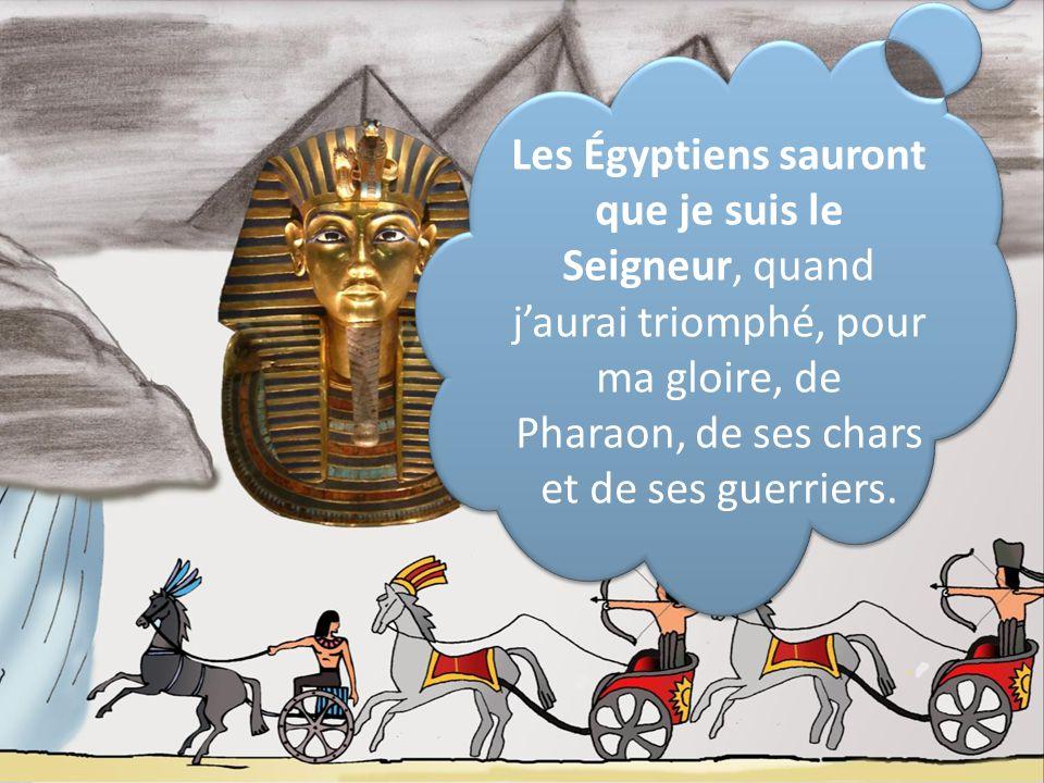 Les Égyptiens sauront que je suis le Seigneur, quand j'aurai triomphé, pour ma gloire, de Pharaon, de ses chars et de ses guerriers.