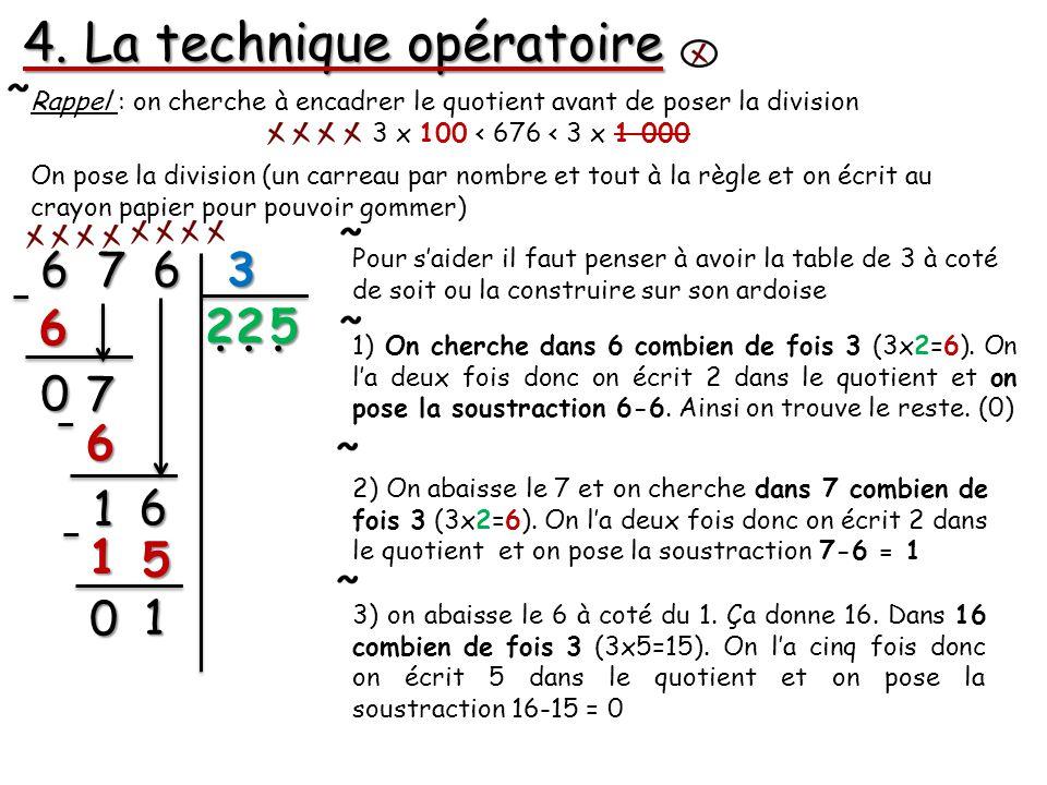 4. La technique opératoire 6 7 6 3 Rappel : on cherche à encadrer le quotient avant de poser la division 3 x 100 < 676 < 3 x 1 000 On pose la division