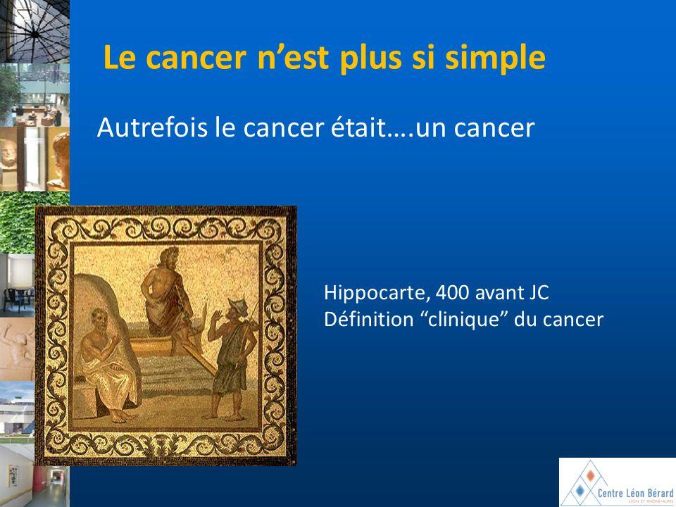 """Hippocarte, 400 avant JC Définition """"clinique"""" du cancer Le cancer n'est plus si simple Autrefois le cancer était….un cancer"""