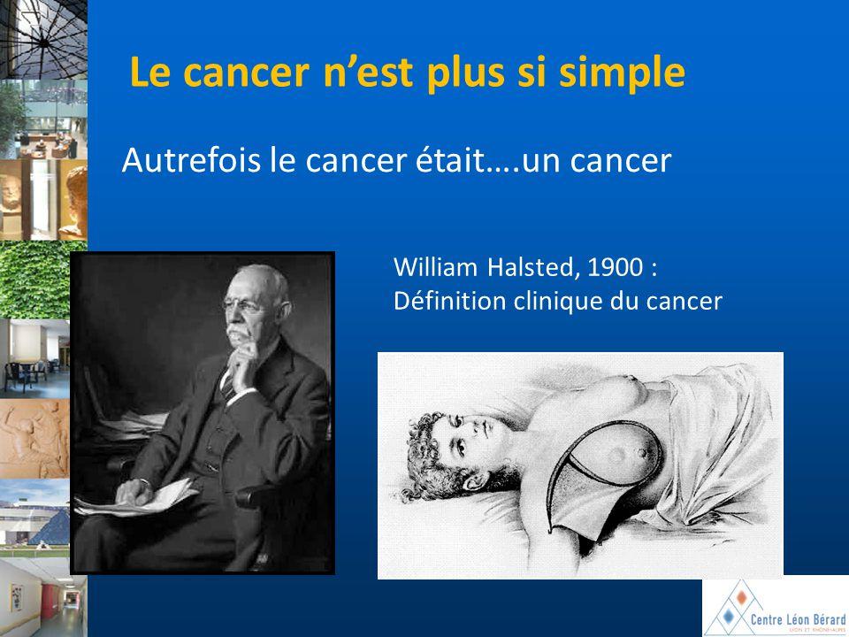 William Halsted, 1900 : Définition clinique du cancer Le cancer n'est plus si simple Autrefois le cancer était….un cancer