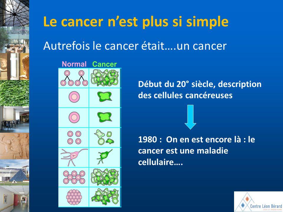 Début du 20° siècle, description des cellules cancéreuses Le cancer n'est plus si simple Autrefois le cancer était….un cancer 1980 : On en est encore
