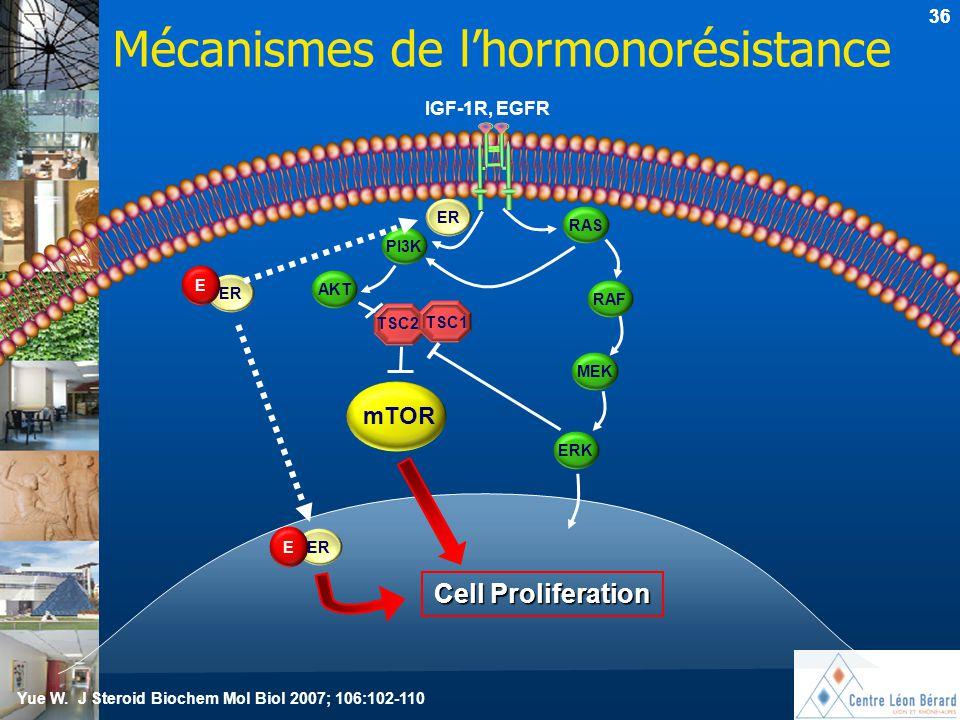 36 Mécanismes de l'hormonorésistance Cell Proliferation mTOR MEK RAS ERK RAF PI3K AKT TSC2 TSC1 ER IGF-1R, EGFR E ER E mTOR Yue W. J Steroid Biochem M