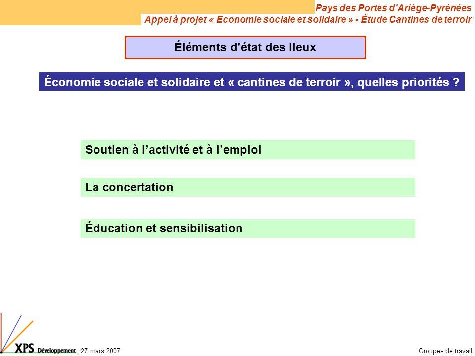 Pays des Portes d'Ariège-Pyrénées Appel à projet « Economie sociale et solidaire » - Étude Cantines de terroir, 27 mars 2007Groupes de travail Économie sociale et solidaire et « cantines de terroir », quelles priorités .
