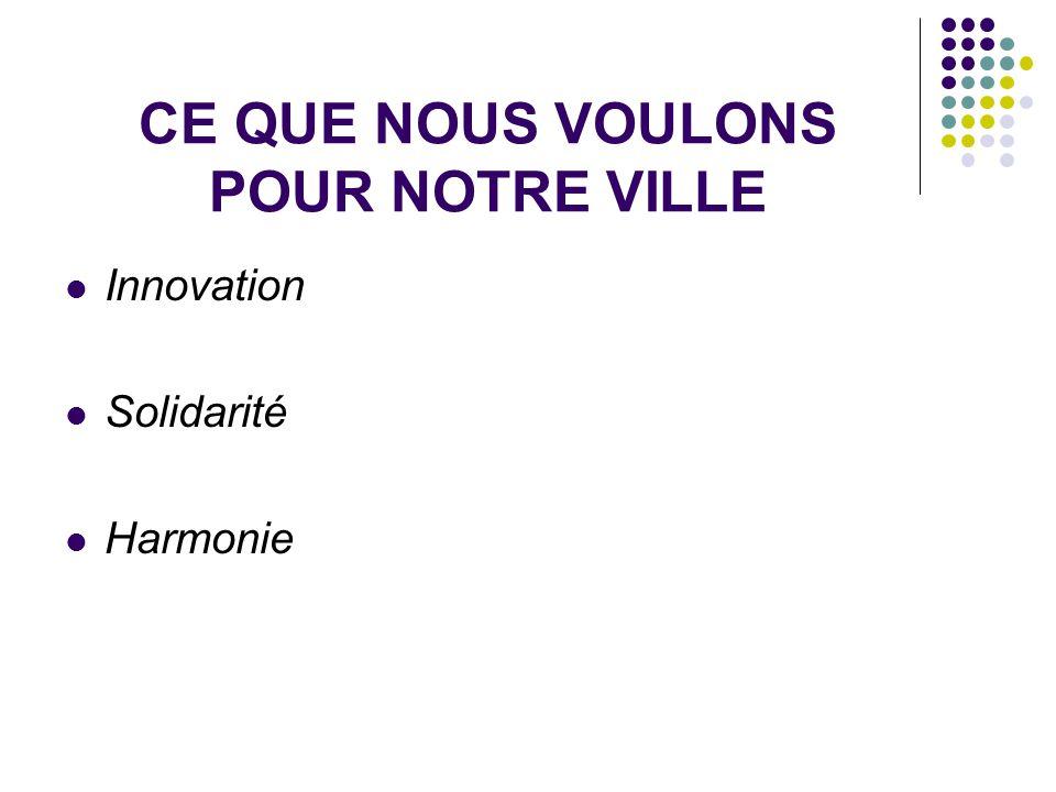 CE QUE NOUS VOULONS POUR NOTRE VILLE Innovation Solidarité Harmonie
