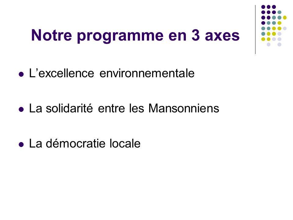 Notre programme en 3 axes L'excellence environnementale La solidarité entre les Mansonniens La démocratie locale