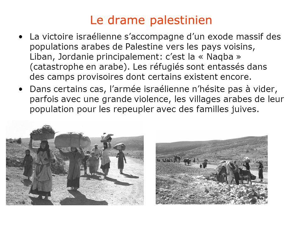Le drame palestinien La victoire israélienne s'accompagne d'un exode massif des populations arabes de Palestine vers les pays voisins, Liban, Jordanie