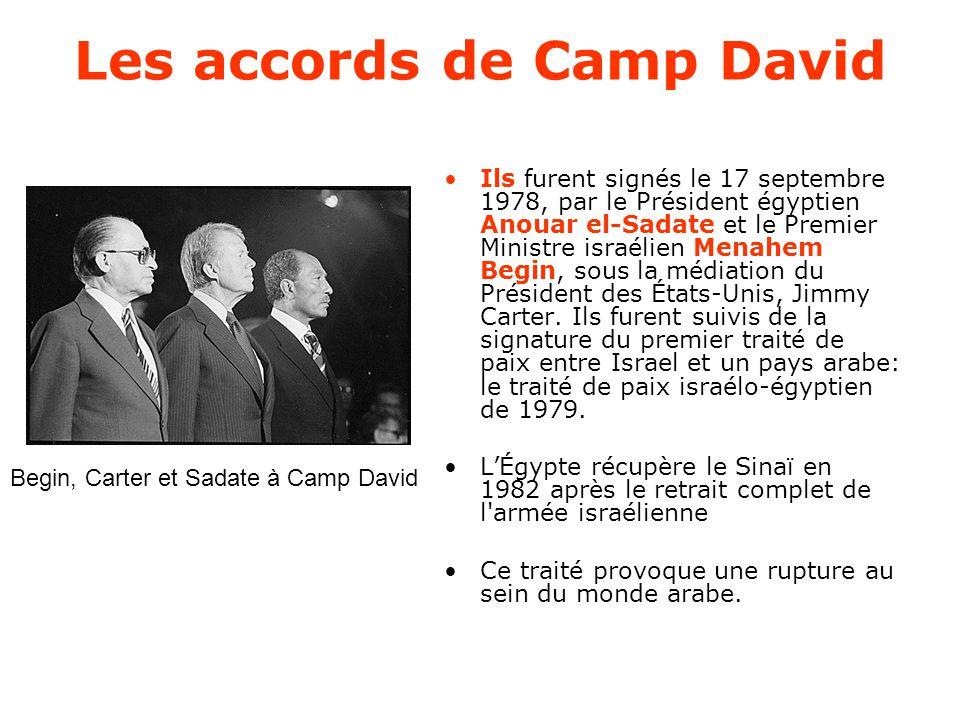 Les accords de Camp David Ils furent signés le 17 septembre 1978, par le Président égyptien Anouar el-Sadate et le Premier Ministre israélien Menahem