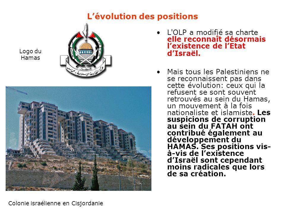 L'évolution des positions L'OLP a modifié sa charte elle reconnaît désormais l'existence de l'Etat d'Israël. Mais tous les Palestiniens ne se reconnai