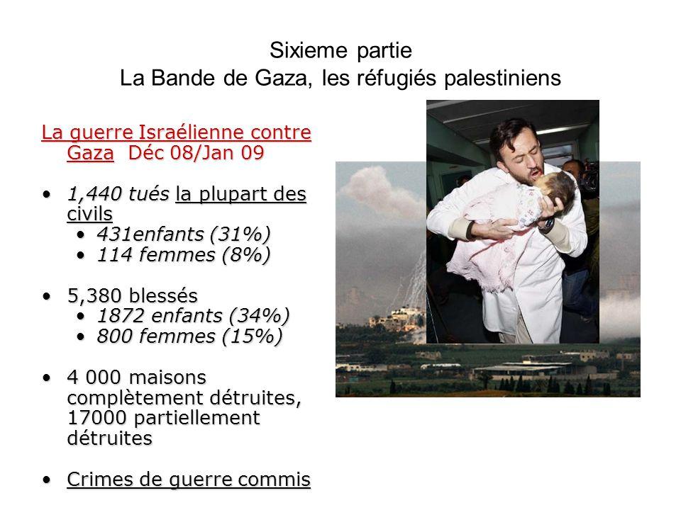 Sixieme partie La Bande de Gaza, les réfugiés palestiniens La guerre Israélienne contre Gaza Déc 08/Jan 09 1,440 tués la plupart des civils1,440 tués