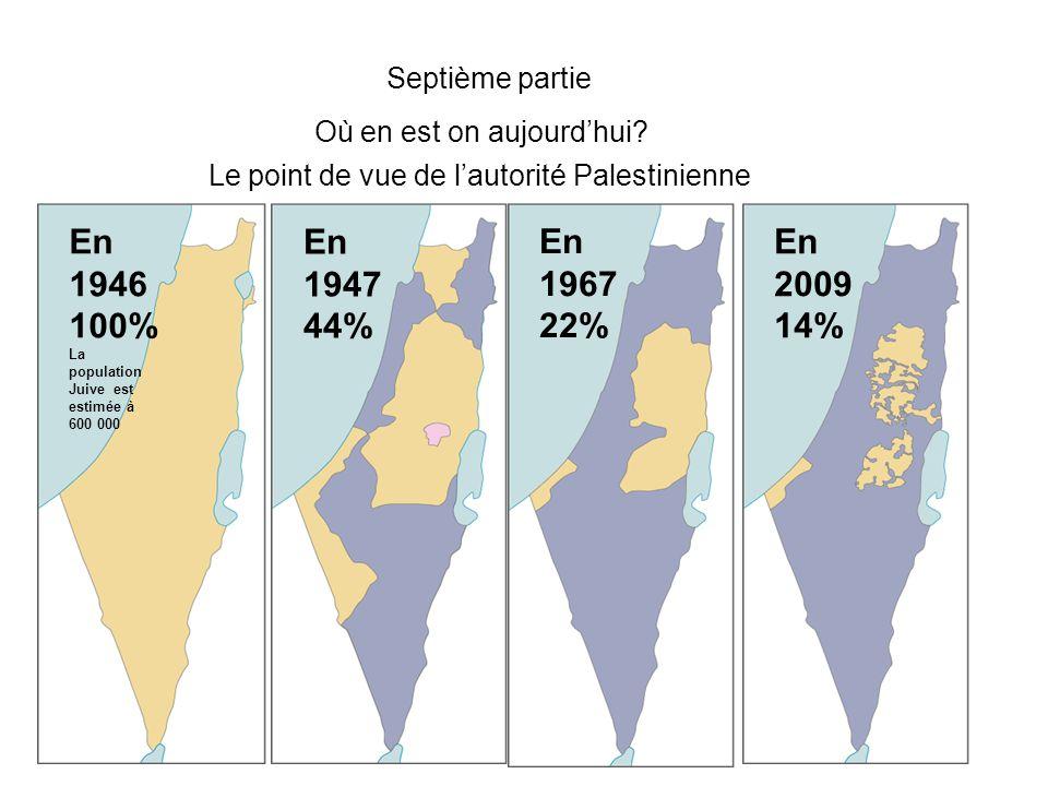 Septième partie Où en est on aujourd'hui? Le point de vue de l'autorité Palestinienne En 1946 100% La population Juive est estimée à 600 000 En 1947 4