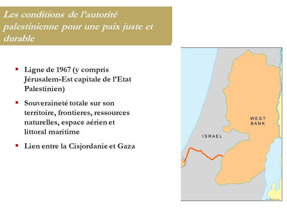 Les conditions de l'autorité palestinienne pour une paix juste et durable  Ligne de 1967 (y compris Jérusalem-Est capitale de l'Etat Palestinien)  S
