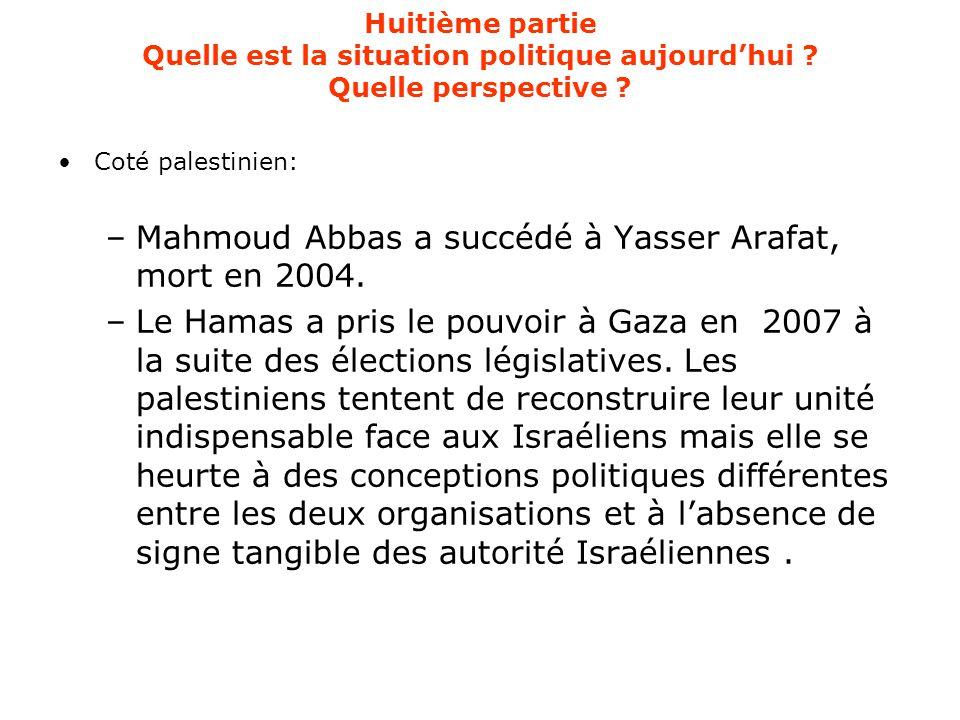 Huitième partie Quelle est la situation politique aujourd'hui ? Quelle perspective ? Coté palestinien: –Mahmoud Abbas a succédé à Yasser Arafat, mort