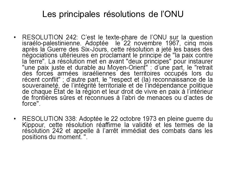 Les principales résolutions de l'ONU RESOLUTION 242: C'est le texte-phare de l'ONU sur la question israélo-palestinienne. Adoptée le 22 novembre 1967,