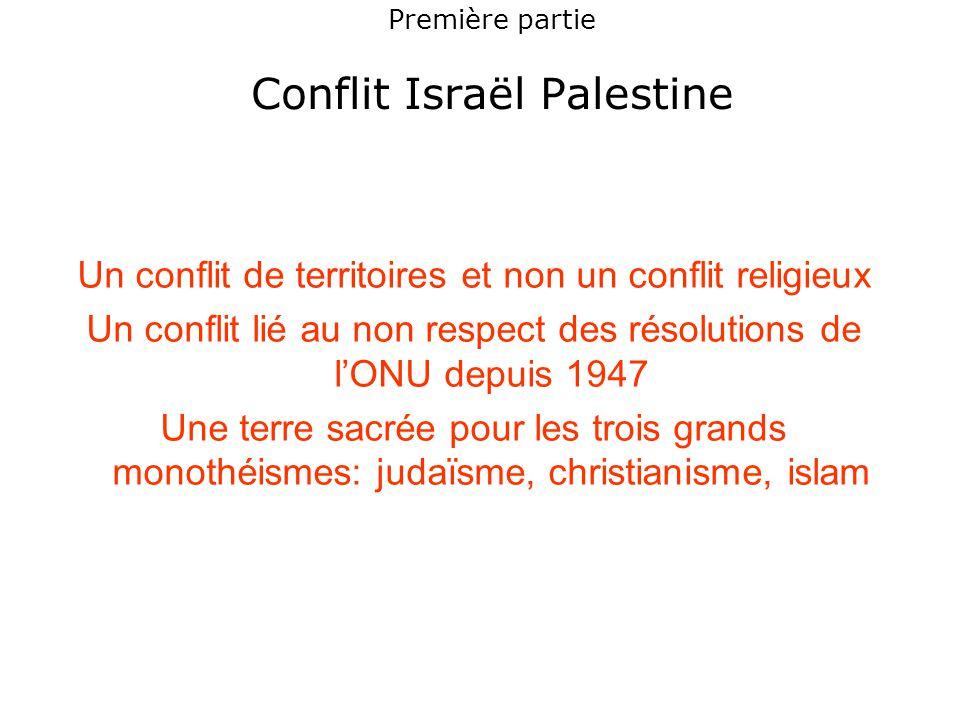 Première partie Conflit Israël Palestine Un conflit de territoires et non un conflit religieux Un conflit lié au non respect des résolutions de l'ONU