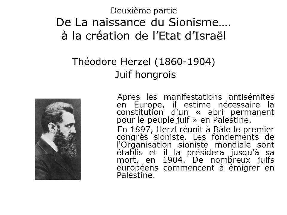 Deuxième partie De La naissance du Sionisme…. à la création de l'Etat d'Israël Théodore Herzel (1860-1904) Juif hongrois Apres les manifestations anti