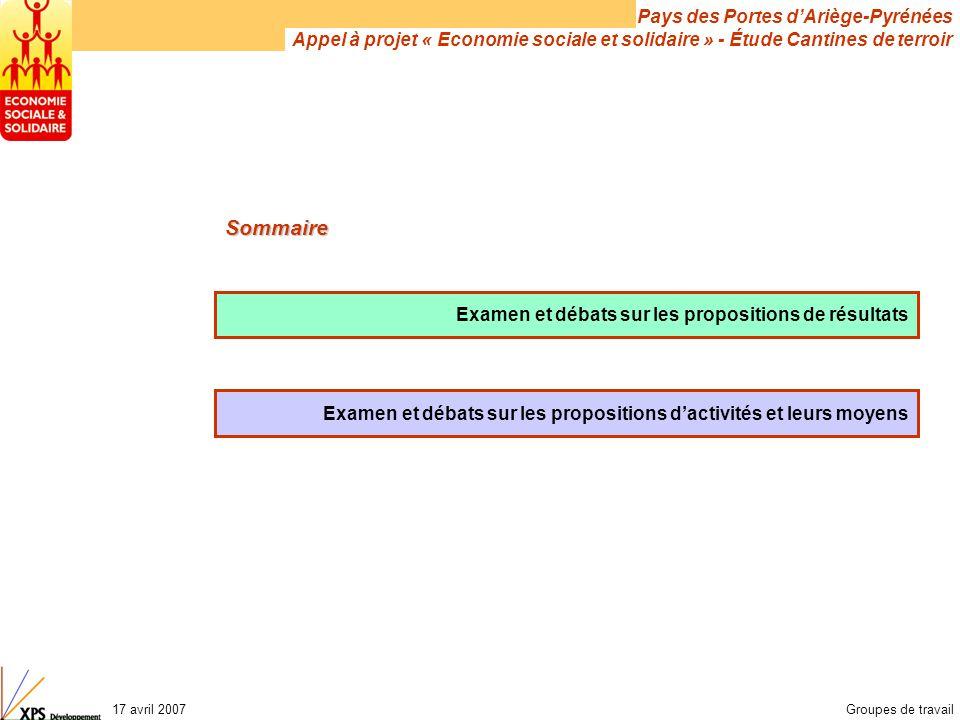 Pays des Portes d'Ariège-Pyrénées Appel à projet « Economie sociale et solidaire » - Étude Cantines de terroir 17 avril 2007Groupes de travail Examen