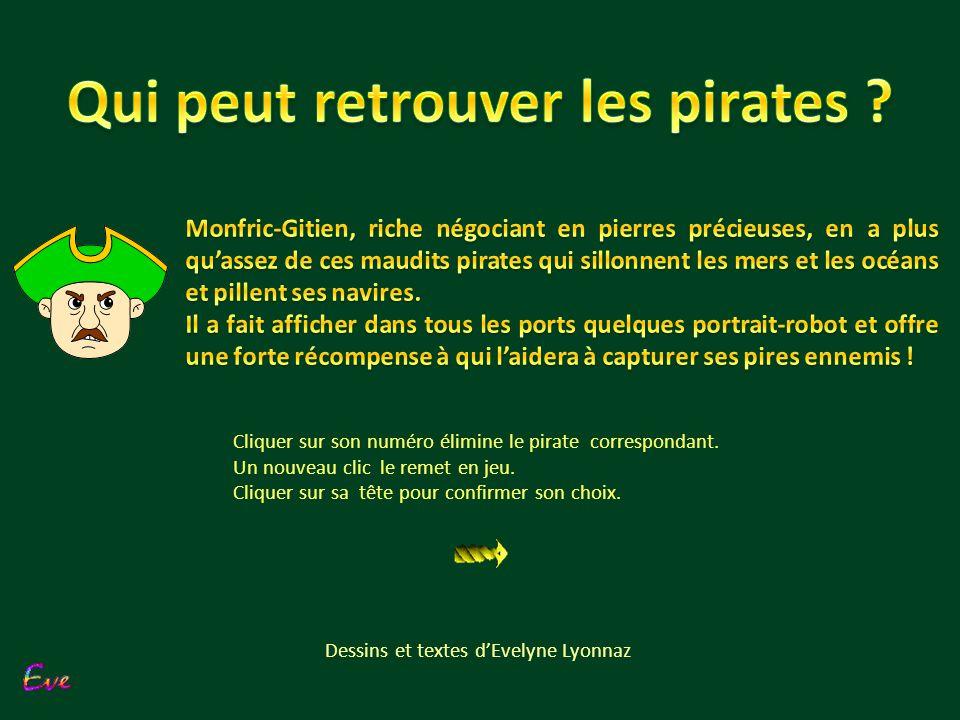 choix Cliquer sur son numéro élimine le pirate correspondant.