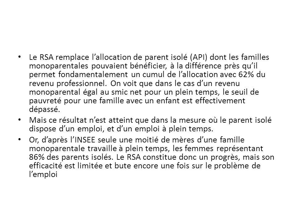 Le RSA remplace l'allocation de parent isolé (API) dont les familles monoparentales pouvaient bénéficier, à la différence près qu'il permet fondamentalement un cumul de l'allocation avec 62% du revenu professionnel.