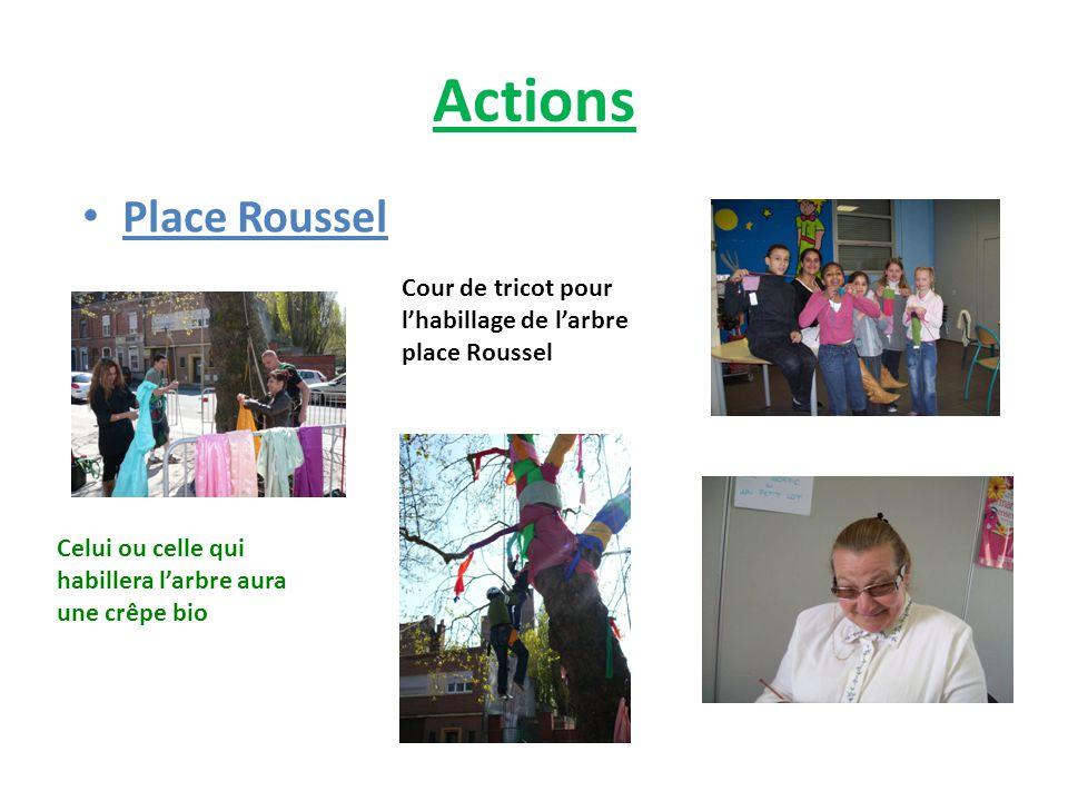 Actions Place Roussel Cour de tricot pour l'habillage de l'arbre place Roussel Celui ou celle qui habillera l'arbre aura une crêpe bio