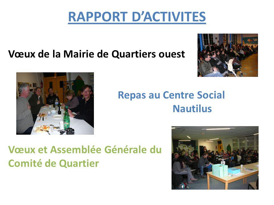 RAPPORT D'ACTIVITES Vœux de la Mairie de Quartiers ouest Repas au Centre Social Nautilus Vœux et Assemblée Générale du Comité de Quartier