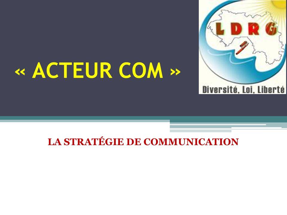 « ACTEUR COM » LA STRATÉGIE DE COMMUNICATION
