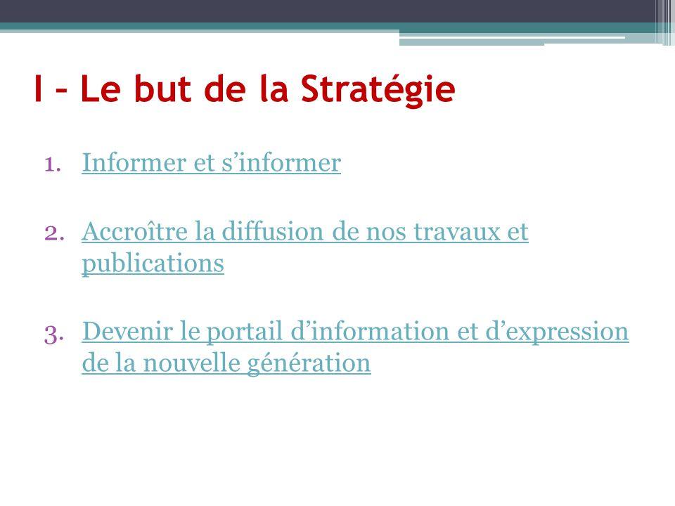 I – Le but de la Stratégie 1.Informer et s'informerInformer et s'informer 2.Accroître la diffusion de nos travaux et publicationsAccroître la diffusio