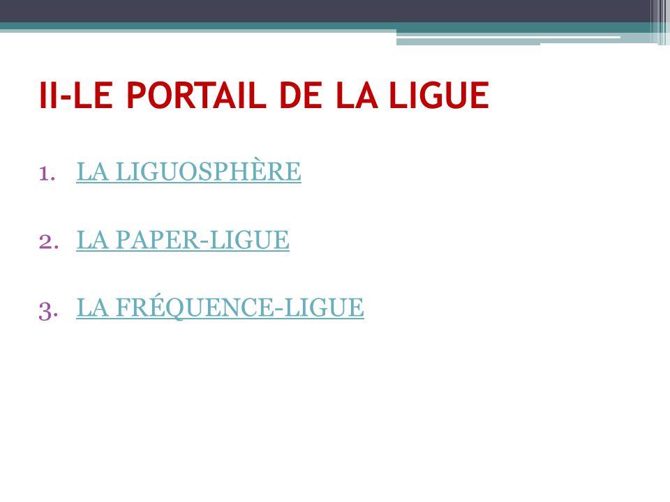 II-LE PORTAIL DE LA LIGUE 1.LA LIGUOSPHÈRELA LIGUOSPHÈRE 2.LA PAPER-LIGUELA PAPER-LIGUE 3.LA FRÉQUENCE-LIGUELA FRÉQUENCE-LIGUE