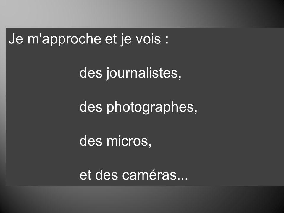 Je m'approche et je vois : des journalistes, des photographes, des micros, et des caméras...