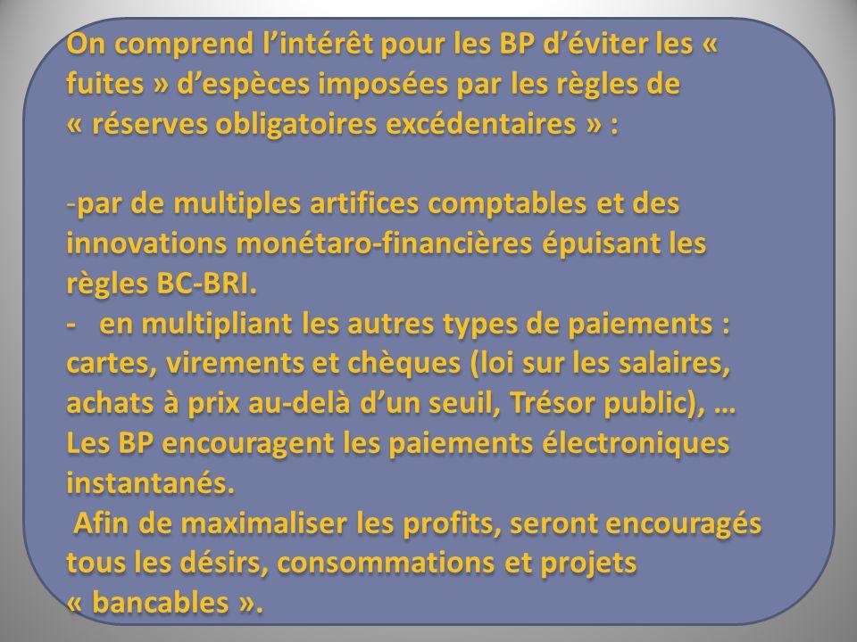 On comprend l'intérêt pour les BP d'éviter les « fuites » d'espèces imposées par les règles de « réserves obligatoires excédentaires » : -par de multiples artifices comptables et des innovations monétaro-financières épuisant les règles BC-BRI.