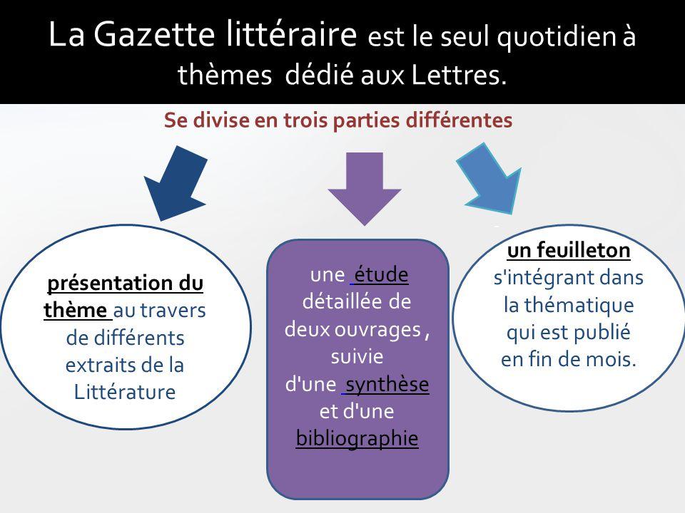 La Gazette littéraire est le seul quotidien à thèmes dédié aux Lettres. Un présentation du thème au travers de différents extraits de la Littérature -