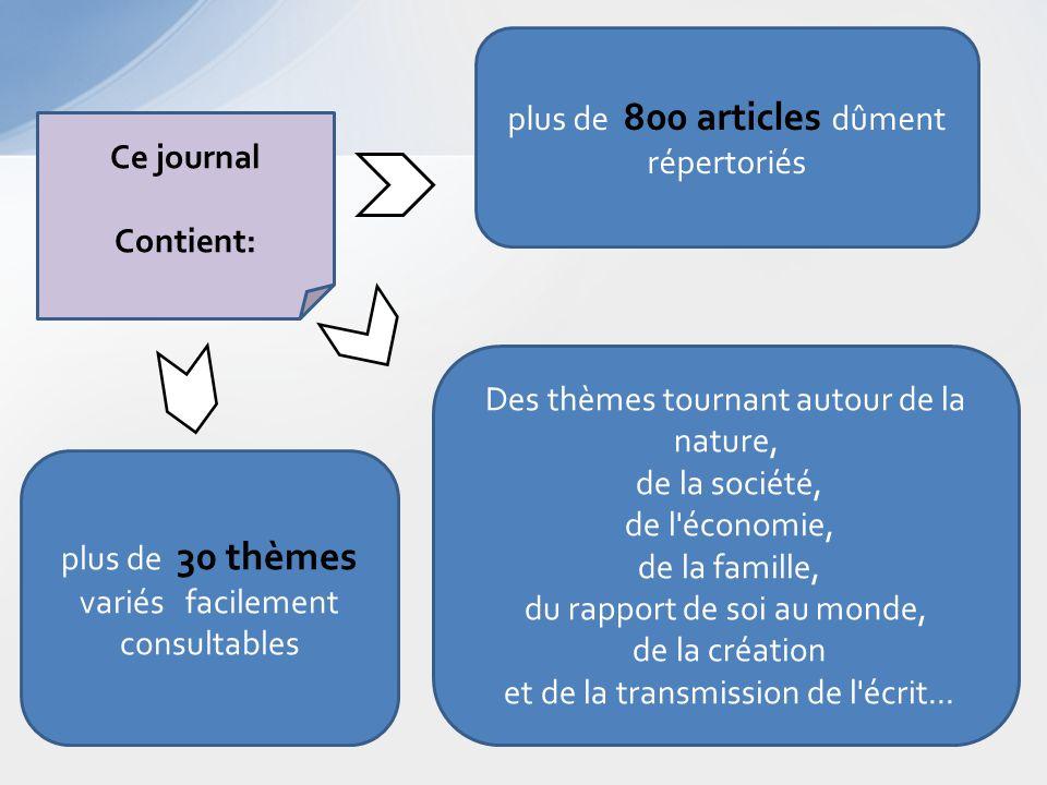 Ce journal Contient: plus de 800 articles dûment répertoriés plus de 30 thèmes variés facilement consultables Des thèmes tournant autour de la nature,