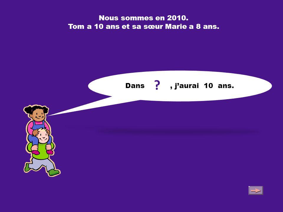 Nous sommes en 2010. Tom a 10 ans et sa sœur Marie a 8 ans. En 2013, j'aurai 11 ans.