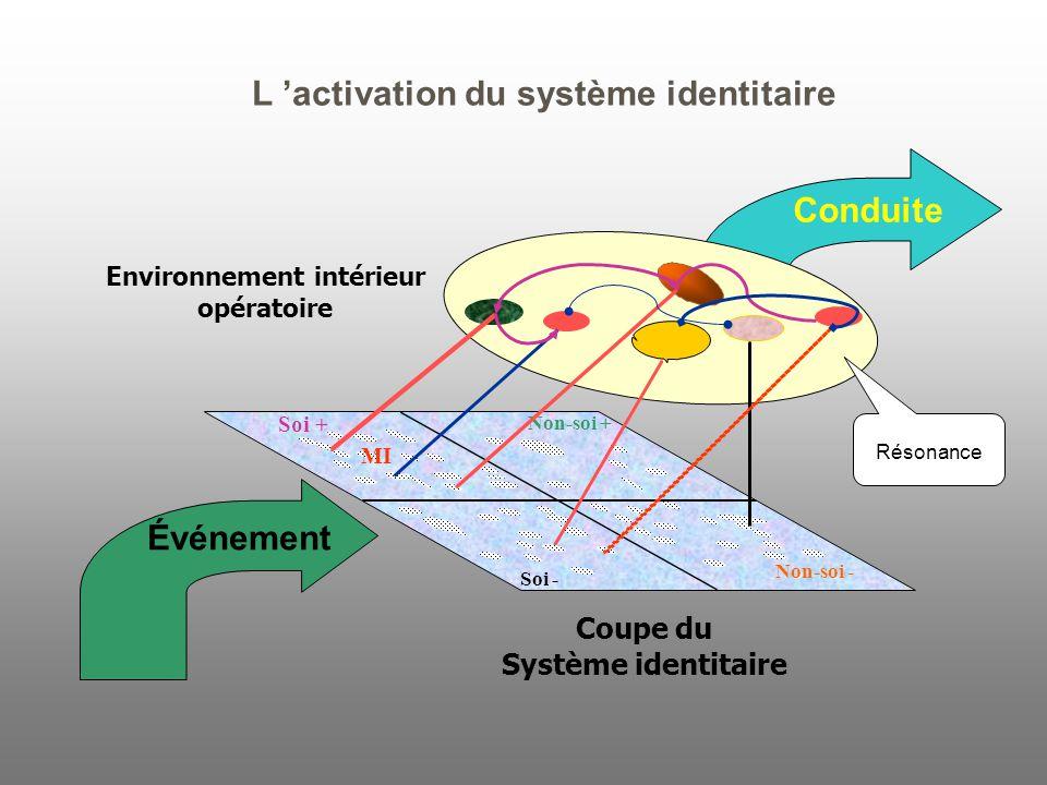 Conduite Non-soi + Soi - Non-soi - MI Coupe du Système identitaire Environnement intérieur opératoire Soi + Événement L 'activation du système identitaire Résonance