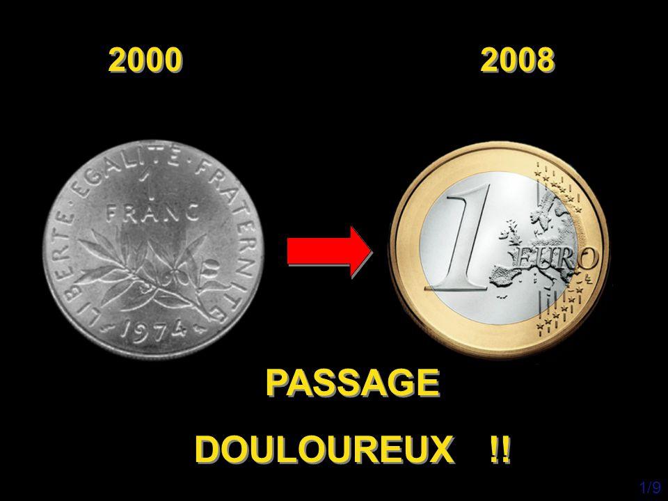 Alimentaire: 2000 2008 Écart Baguette 3 francs ( 0,46 €) 0,85 € + 85% Laitue 4 francs ( 0,69 €) 1,50 € + 118% Chou Vert 5,00 francs ( 0,76 €) 1,50 € + 97% Café 6 francs ( 0,91 €) 1,50 € + 64% Lait (litre) 1,30 francs ( 0,20 €) 0,56 € + 183% Brie 2,60 francs ( 0,40 €) 0,94 € + 137% Coulommiers 5,20 francs ( 0,79 €) 2,07 € + 161% 2/9