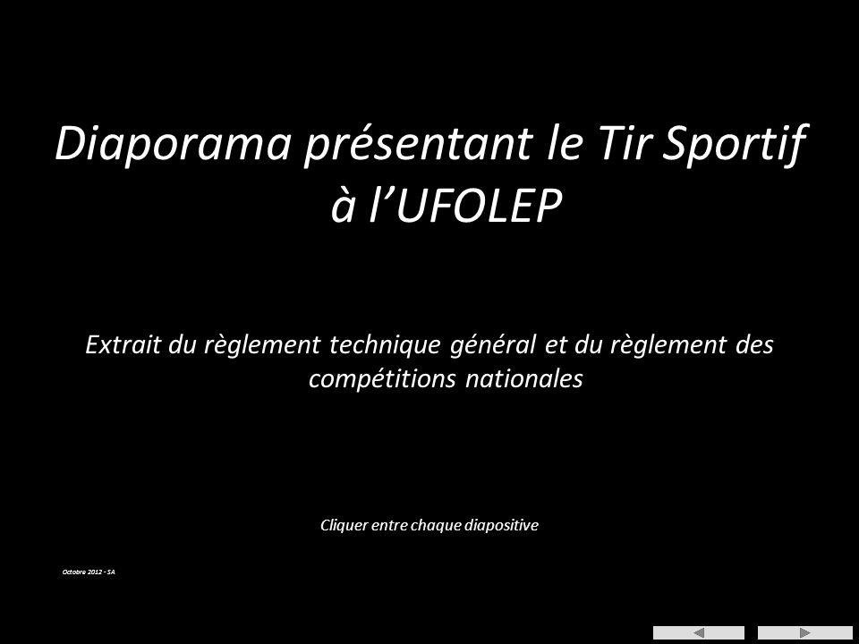 Cliquer entre chaque diapositive Diaporama présentant le Tir Sportif à l'UFOLEP Extrait du règlement technique général et du règlement des compétitions nationales Octobre 2012 - SA