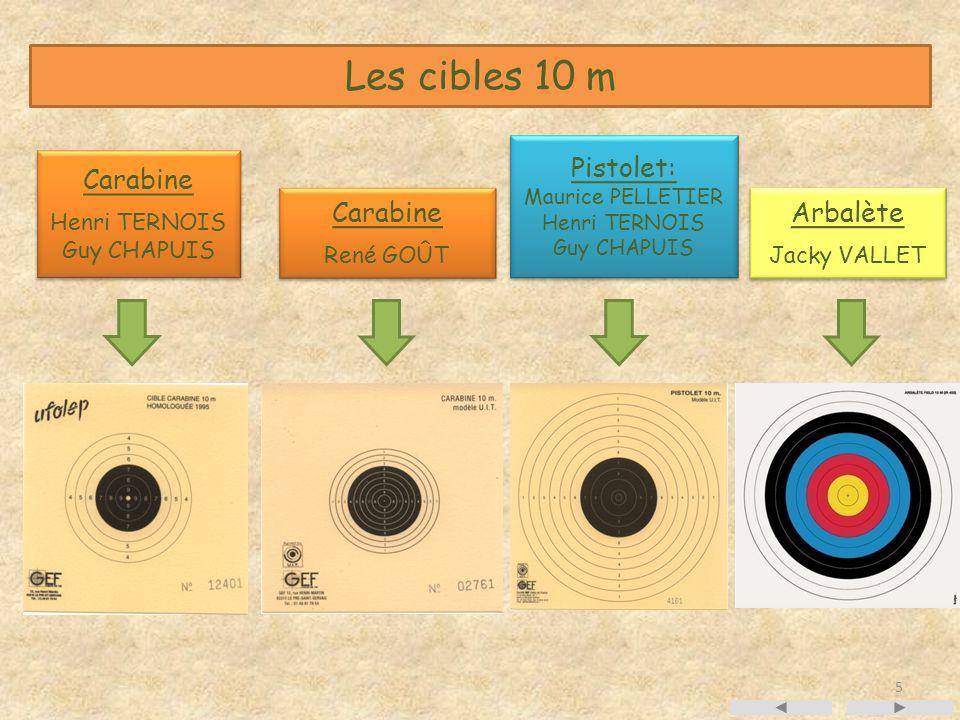 5 Les cibles 10 m Pistolet: Maurice PELLETIER Henri TERNOIS Guy CHAPUIS Pistolet: Maurice PELLETIER Henri TERNOIS Guy CHAPUIS Carabine René GOÛT Carab