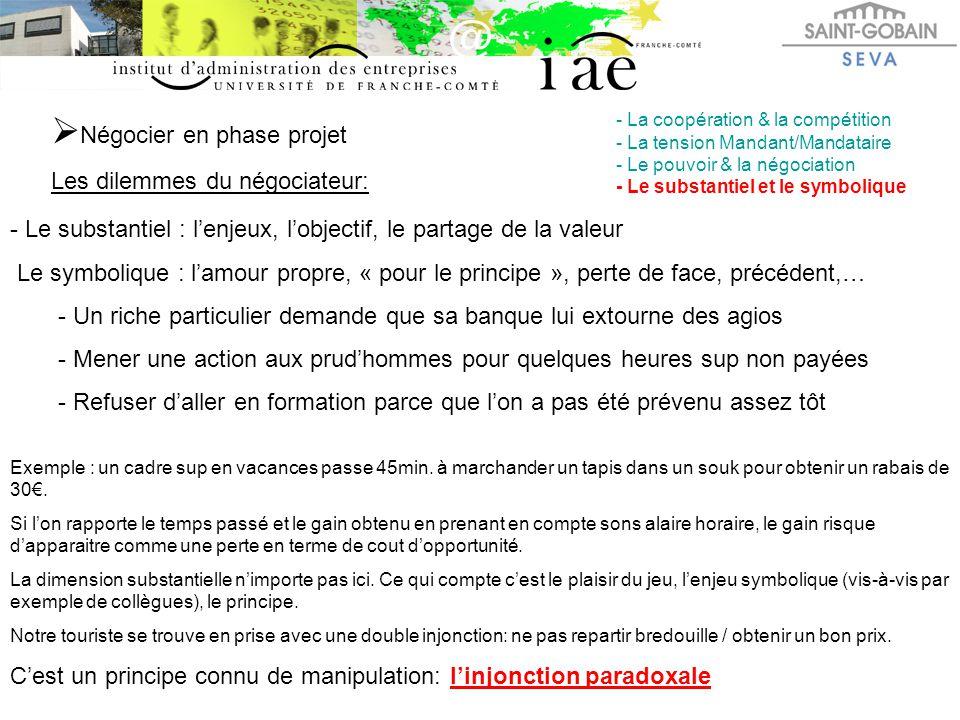  Négocier en phase projet Les dilemmes du négociateur: - La coopération & la compétition - La tension Mandant/Mandataire - Le pouvoir & la négociatio