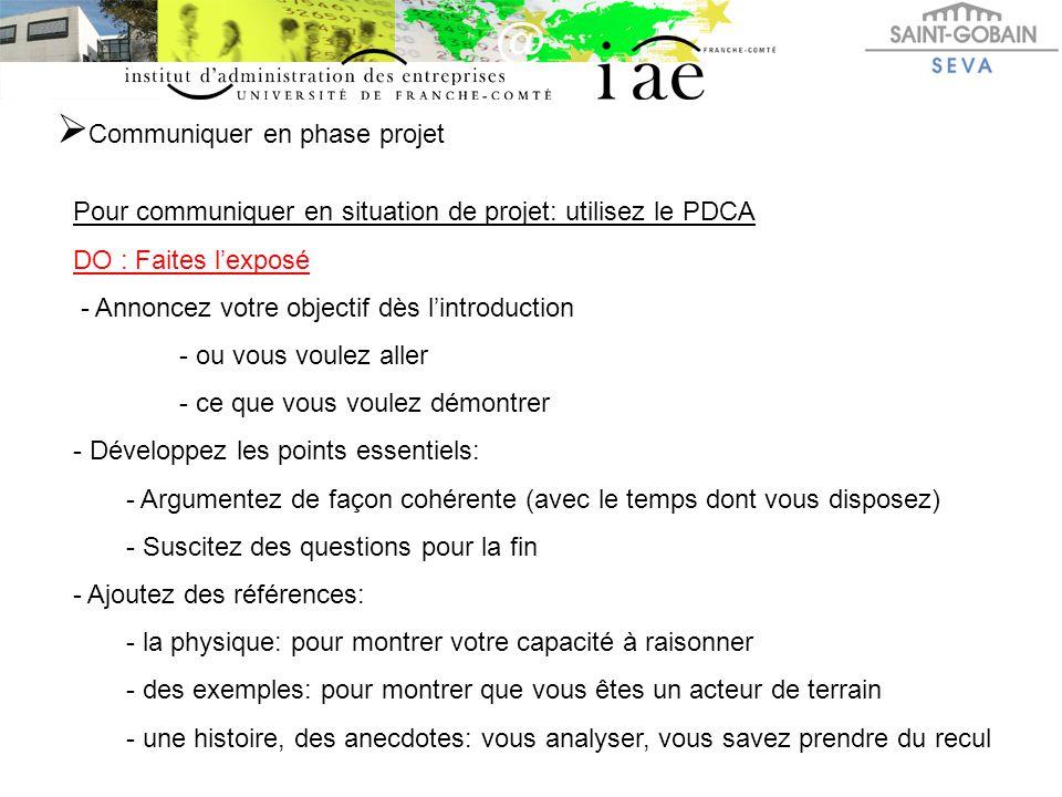 Communiquer en phase projet Pour communiquer en situation de projet: utilisez le PDCA DO : Faites l'exposé - Annoncez votre objectif dès l'introduct